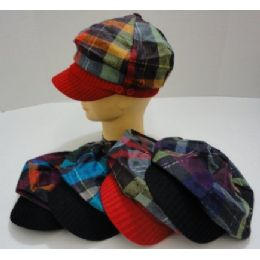 144 Units of Ladies Newsboy Hat-Felt Metallic Plaid [Knit Bill] - Fashion Winter Hats