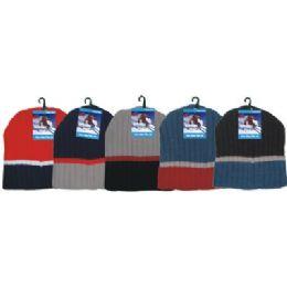 144 Units of Winter 3 Tone Beanie Hat - Winter Beanie Hats