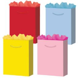 144 Units of Gift-Bag Jumbo Solid 4 Colors - Gift Bags Assorted