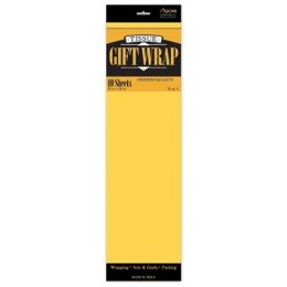 """144 Units of  Tissue Paper Dark Yellow - 10 Sheets per Pack, 20"""" x 26"""" Sheets - Gift Wrap"""