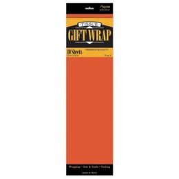 """144 Units of Tissue Paper Orange - 10 Sheets per Pack, 20"""" x 26"""" Sheets - Gift Wrap"""