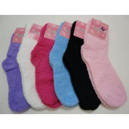 144 Units of Fuzzy Socks 9-11 [solid Color] - Womens Fuzzy Socks