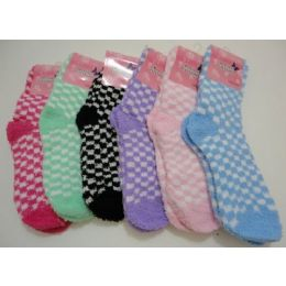 144 Units of Women's Fuzzy Socks 9-11[ Two Color Checkerboard - Womens Fuzzy Socks