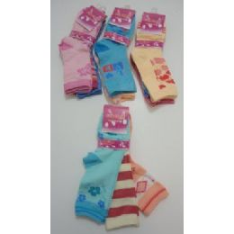300 Units of Girls Printed Crew Socks 6-8 - Girls Crew Socks