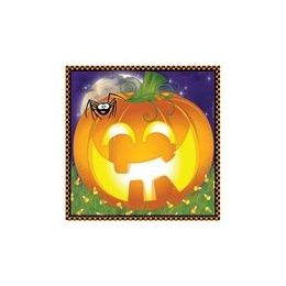 144 Units of Pumpkin Grins Beverage Napkins - 16ct. - Halloween & Thanksgiving