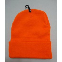 48 Units of Hunter Orange Toboggan Winter Hat - Winter Beanie Hats