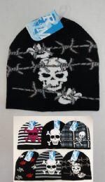 24 Units of Assorted Skulls Knit Beanie - Winter Beanie Hats