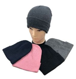 24 Units of Winter Toboggan Hat Assorted Colors - Winter Beanie Hats
