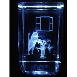 24 Units of 3D Laser Etched Crystal-Cat & Flower - Etched Crystal Figurines