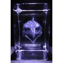 24 Units of 3D Laser Etched Crystal-Eagle Face - Etched Crystal Figurines