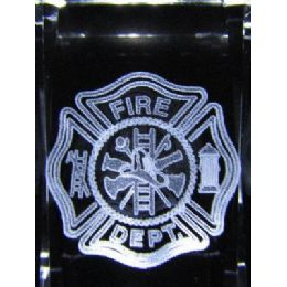 24 Units of 3D Laser Etched Crystal-Fire Department - Etched Crystal Figurines