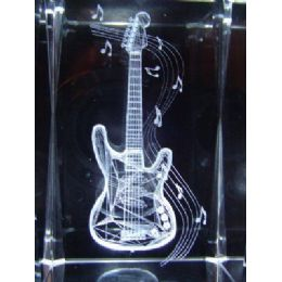 48 Units of 3D Laser Etched Crystal-Guitar - Etched Crystal Figurines