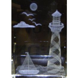 48 Units of 3D Laser Etched Crystal-Lighthouse - Etched Crystal Figurines