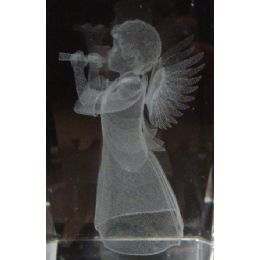 48 Units of 3D Laser Etched Crystal-New Angel with Horn - Etched Crystal Figurines