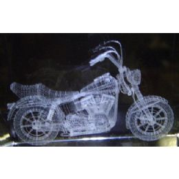 48 Units of 3D Laser Etched Crystal-Motorcycle - Etched Crystal Figurines