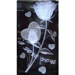48 Units of 3D Laser Etched Crystal-Roses with Heart - Etched Crystal Figurines