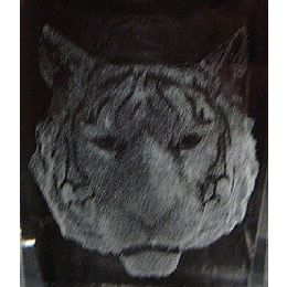 48 Units of 3D Laser Etched Crystal-Tiger Head - Etched Crystal Figurines