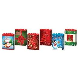 288 Units of Gift-Bag Medium Gls Holiday 4 Asst - Christmas Gift Bags and Boxes