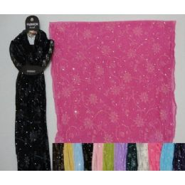 96 Units of Sheer Sparkle Scarf with Printed Flowers - Womens Fashion Scarves