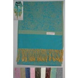 72 Units of Pashmina with Fringe--Paisley/Solid Stripe - Winter Pashminas and Ponchos