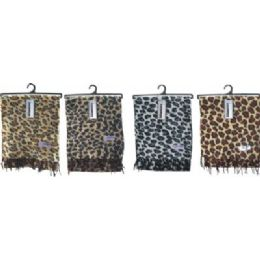 72 Units of Ladies Leopard Print Woven Cashmere Feel Scarf #21017 - Winter Scarves