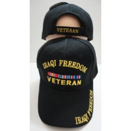 24 Units of Iraqi Freedom Veteran Hat [Black Only] - Military Caps