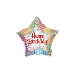"""100 Units of  Mylar 18"""" DS-Happy Birthday Stripes & Confetti Star"""