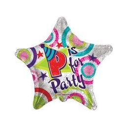 """100 Units of Mylar 18"""" DS - P is for Party B is for Birthday"""