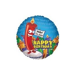 "100 Units of Mylar 18"" DS-Happy Birthday w/Big Candle - Balloons/Balloon Holder"