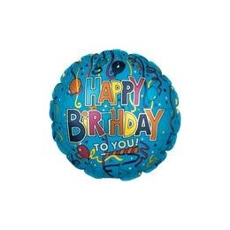 "100 Units of Mylar 18"" DS-Birthday Festive Blue - Balloons/Balloon Holder"