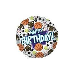 "100 Units of Mylar 18"" DS - Happy Birthday Sports - Balloons/Balloon Holder"