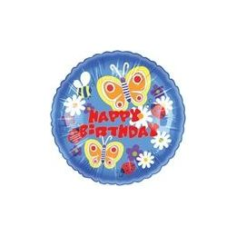 """100 Units of Mylar 18"""" DS - Happy Birthday Butterfly Blooms - Balloons/Balloon Holder"""
