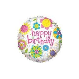 "100 Units of Mylar 18"" DS - Happy Birthday Collage - Balloons/Balloon Holder"