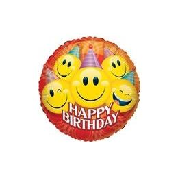 "100 Units of Mylar 18"" DS - Happy Birthday Party Smiles - Balloons/Balloon Holder"