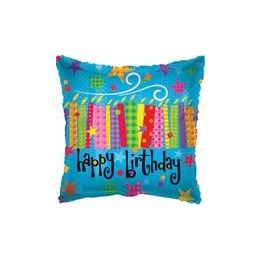 """100 Units of Mylar 18"""" DS - Happy Birthday Blow Candles Square"""