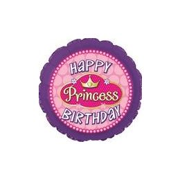 "100 Units of Mylar 18"" DS - Happy Birthday Princess Pink Pearls - Balloons/Balloon Holder"