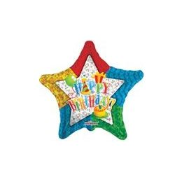 "100 Units of Mylar 18"" DS - Happy Birthday Patterned Star - Balloons/Balloon Holder"