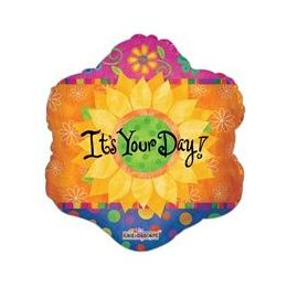 "100 Units of Mylar 18"" DS - It's Your Day Sunflower"