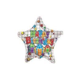 """100 Units of Mylar 18"""" VLU DS - Birthday Big Dots Star White"""