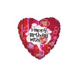 """100 Units of Mylar 18"""" VLU DS - Happy Birthday w/ Love - Balloons/Balloon Holder"""