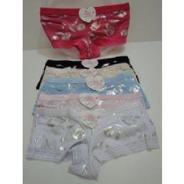 144 Units of Ladies Panties-Silver Flowers - Womens Panties & Underwear