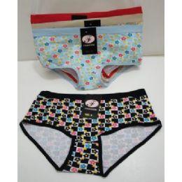 144 Units of Ladies Panties-Small Checkered Daisies - Womens Panties & Underwear