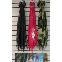 72 Units of Scarf with Fringe-Single Color Tie Dye - Winter Pashminas and Ponchos