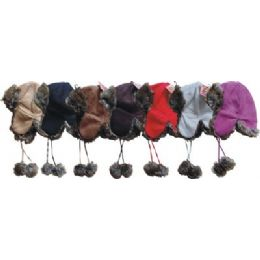 24 Units of Fashion Aviator Suede Hat - Trapper Hats