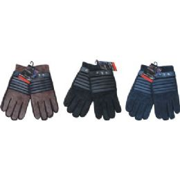 24 Units of Winter Glove Suede Men With Stripe - Leather Gloves