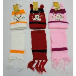 144 Units of Baby Knit Cap With ScarF--Bears - Junior / Kids Winter Hats