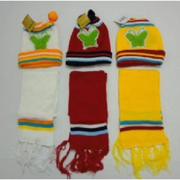 48 Units of Baby Knit Cap With ScarF--Butterflies - Junior / Kids Winter Hats
