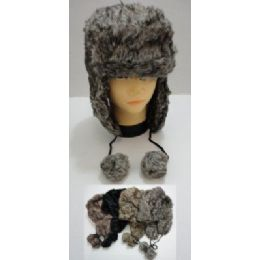 36 Units of Bomber Hat with PomPom--Faux Fur - Trapper Hats
