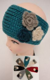 12 Units of Hand Knitted Ear Band--Multi & Flower - Fashion Winter Hats