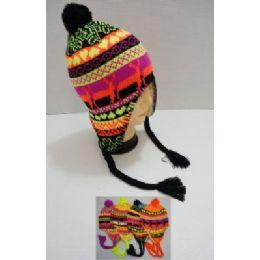 72 Units of Helmet Hat Knit Design Neon - Winter Helmet Hats